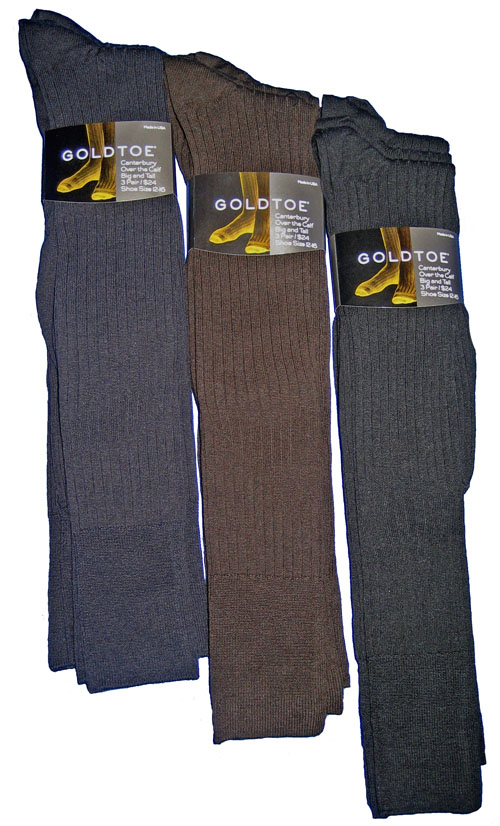 Gold Toe Extended Canterbury Over the Calf Dress Sock 3-pack Shoe Size 12-16