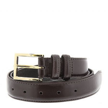 Leather Dress Belt  Silver Buckle