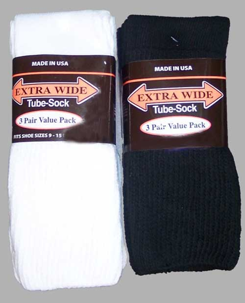 Extra Wide Comfort Tube Sock (3pack)
