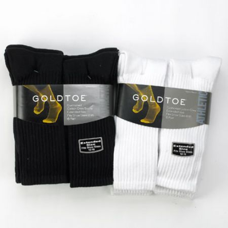 Gold Toe Extended  Cotton Mid-Calf Athletic Sock 6-pack Shoe Size 12-16